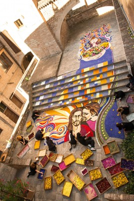 Spello's Infiorata - Artists preparing floral compositions